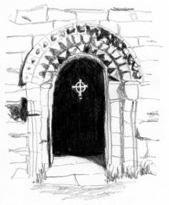 blik in de St. Orans Chapel op Iona inspiratiebronnen van Monica Schwarz