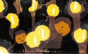 Licht delen in Taizé detail houtsnede