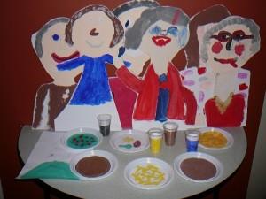 resultaat kinderworkshop schilderen over het thema maaltijd - Veelstemmig Licht
