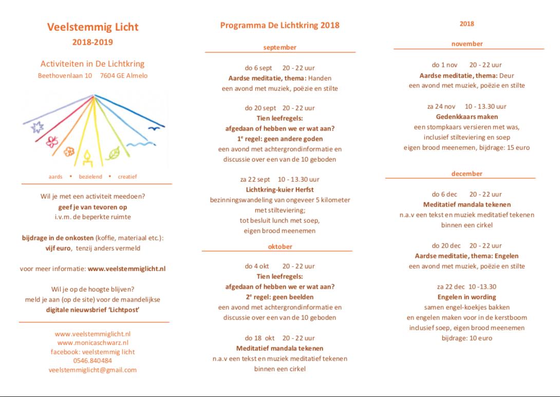 Jaarprogramma van De Lichtkring